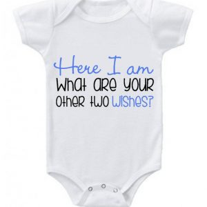 Here i am 100 percent cotton custom baby grow