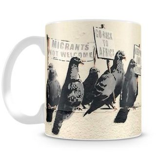 Banksy Anti Immigration birds coffee mug
