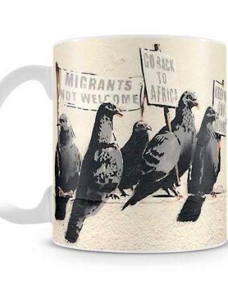Banksy Anti Immigration birds coffee mug