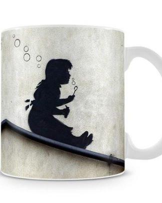 Banksy Bubble Slide Girl coffee Mug