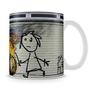 Banksy Burning Tyre coffee Mug