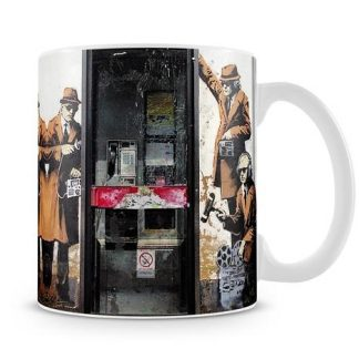 Banksy Cheltenham Telephone Box Spies coffee mug
