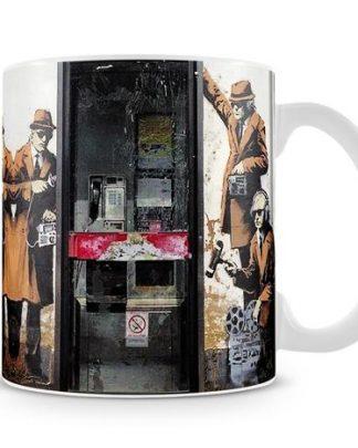 Banksy Cheltenham Telephone Box Spies coffee mug