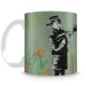 Banksy Crayon Child Soldier coffee mug