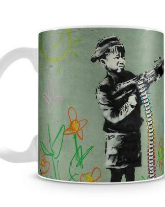Banksy Crayon Child Soldier coffee mug