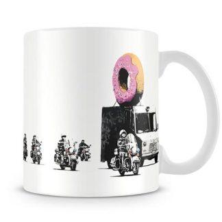 Banksy Doughnut Police Escort coffee Mug