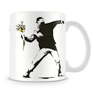 Banksy Flower Thrower coffee mug