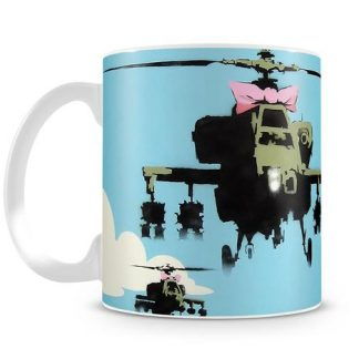 Banksy Friendly Helicopters coffee mug