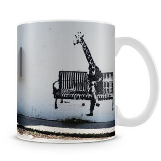 Banksy Giraffe on a Bench coffee mug