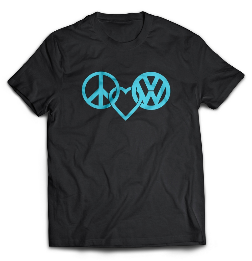 Peace love and vw cotton t shirt t shirt printing benoni for Home t shirt printer