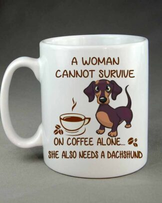 A woman cannot survive on coffee alone coffee mug