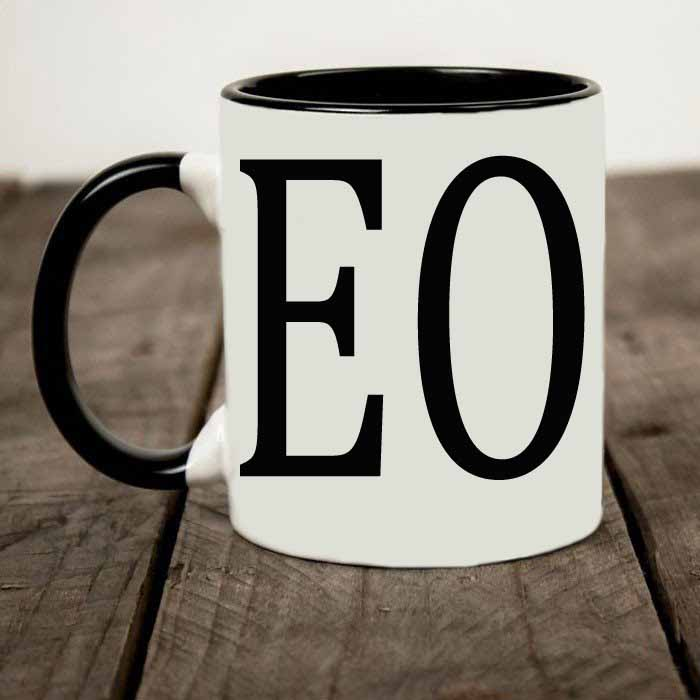 CEO custom printed two tone coffee mug
