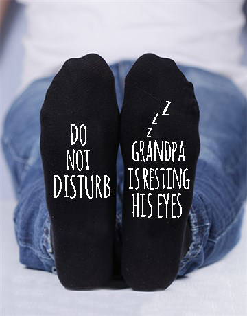 Do not disturb , Grandpa is resting his eyes custom socks