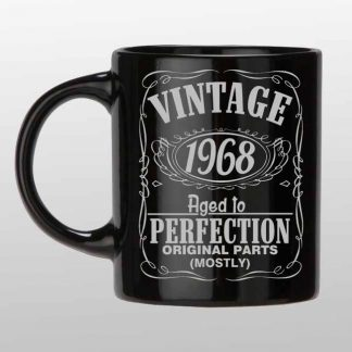 Vintage 1968 51 birthday custom black and Silver coffee mug