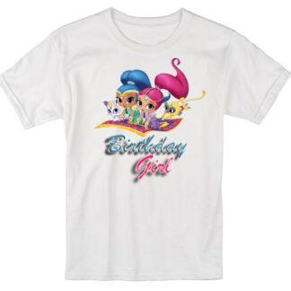Birthday girl children custom birthday shimmer and shake T-shirt