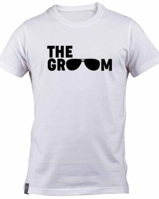 Aviator sunglasses The Groom 100% cotton White T-Shirt