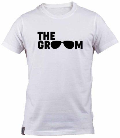 Aviator sunglasses The Groom 100% cotton White T-Shirt