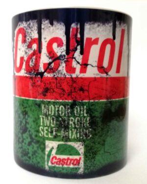 Messy oil can Coffee mug Castrol 2 Stroke White
