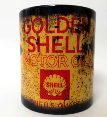 Messy oil can Coffee mug Golden Shell White