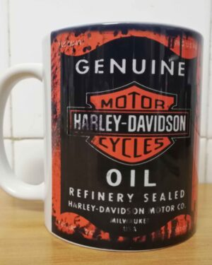 Messy oil can Coffee mug Harley Davidson White