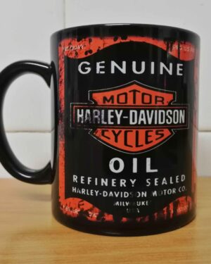 Messy oil can Coffee mug Harley Davidson Black