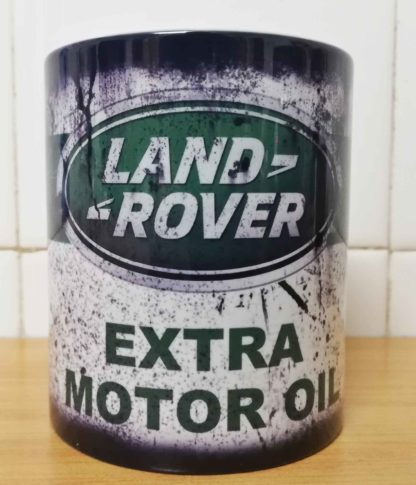 Messy oil can Coffee mug Land Rover White