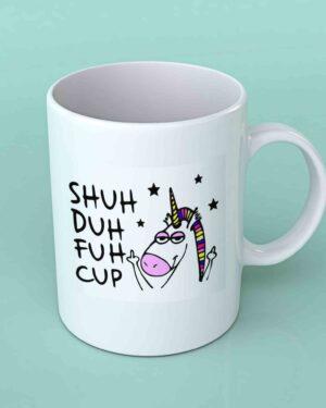 Shuh duh fuh cup white coffee mug