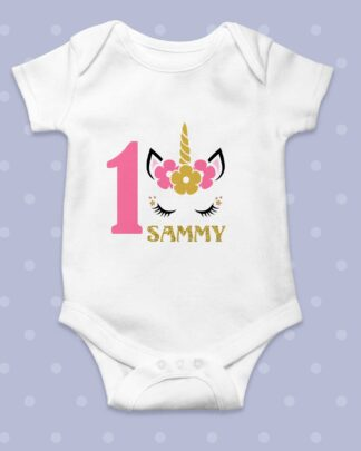 One year old birthday unicorn girls baby grow