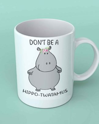 Hippo twatamus white coffee mug