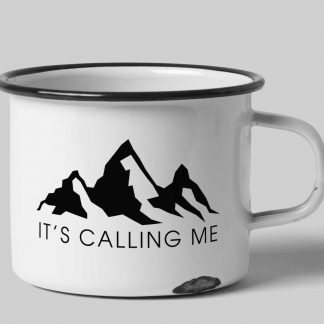 It's calling me white enamel custom tin mug