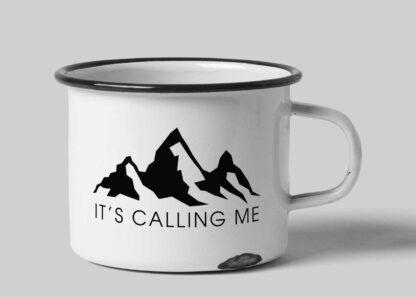 It's calling me white enamel custom tin mug