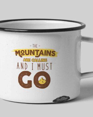 The mountains are calling enamel tin mug