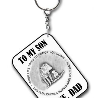 To my son key ring white