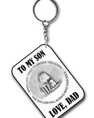 To my son key ring white