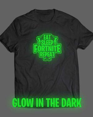 Eat sleep fortnite repeat T-shirt glow in the dark