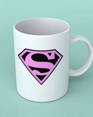 Superman pink ladies coffee mug