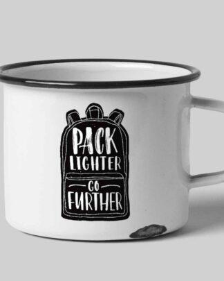 Enamel tin mug Pack lighter Go further