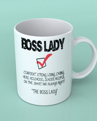 Boss lady check box white coffee mug
