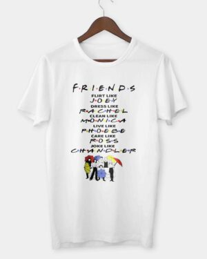 Friends White cotton T-shirt flirt like Joey
