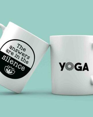 The answers are in the silence yoga coffee mug