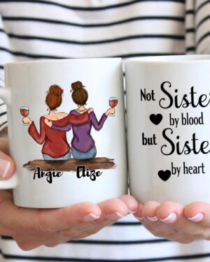 Best friends not sisters by blood coffee mug