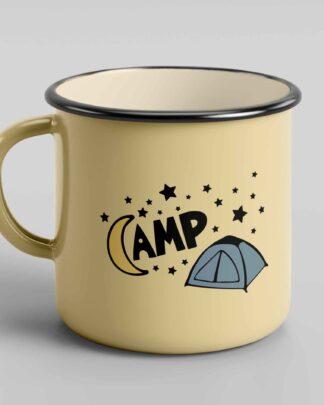 Camp tent stars enamel mug
