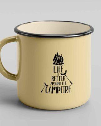 Life is better around the campfire enamel tin mug 3