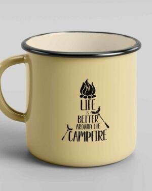 Life is better around the campfire enamel tin mug 3