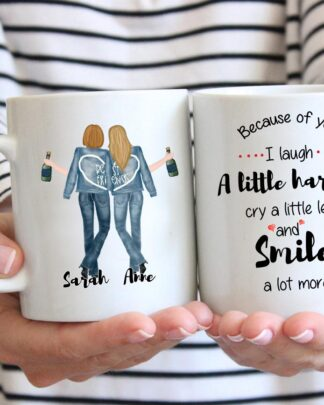 Best friends because of you I laugh coffee mug