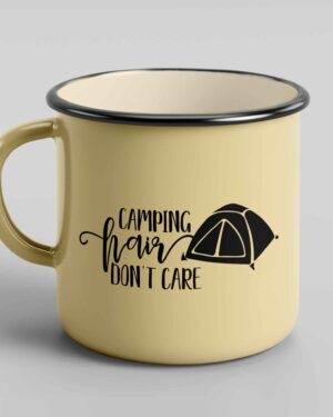 Camping hair don't care enamel tin coffee mug