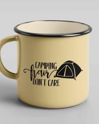 Camping hair don't care enamel tin coffee mug