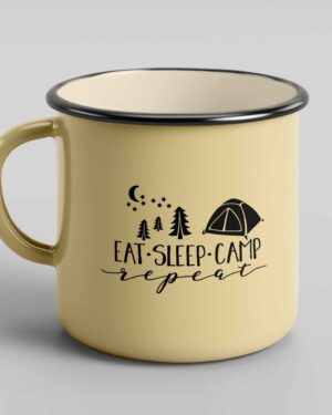 Eat sleep camp repeat enamel tin coffee mug