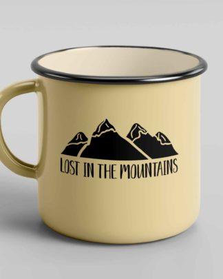 Lost in the Mountains enamel tin mug