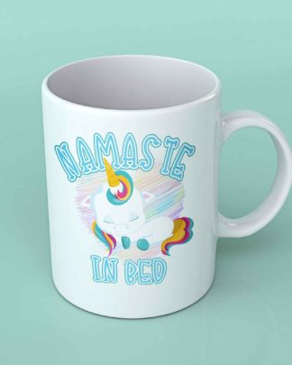 Namaste in bed Unicorn coffee mug